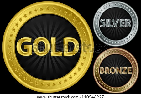 Golden, silver and bronze empty coins, vector illustration - stock vector