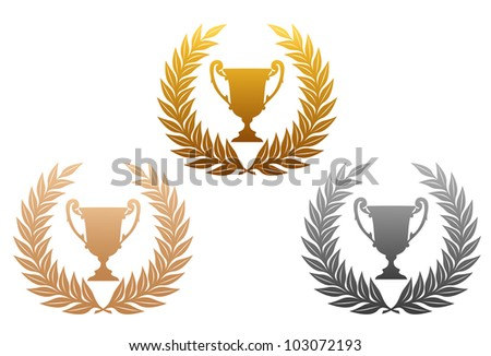 Golden, silver and bronze laurel wreaths with trophy for sports design, such logo. Jpeg version also available in gallery - stock vector
