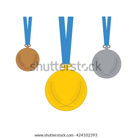 Golden, Silver, Bronze medal  icon collection with blue ribbons Isolated on white background. Vector illustration.  - stock vector