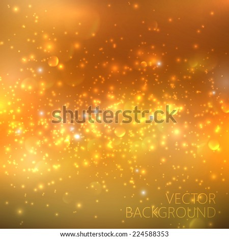 Golden sparkling background with glowing sparkles and glitter. Shiny holiday illustration - stock vector