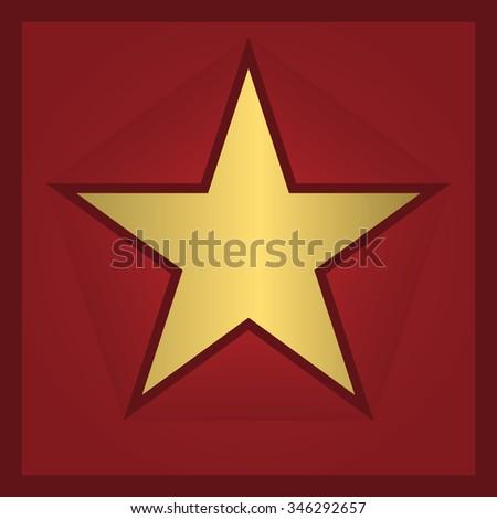 Golden star award on the red background. Vector illustration - stock vector