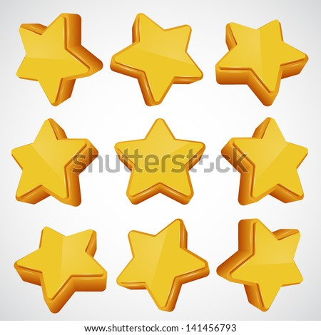 Golden star. different angles. Vector illustration - stock vector