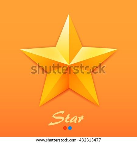 Golden star icon on orange background. Vector illustration - stock vector