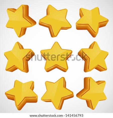 Golden star set. different angles. Vector illustration - stock vector