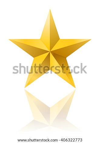 golden star shape isolated on white with reflection. vector illustration - stock vector