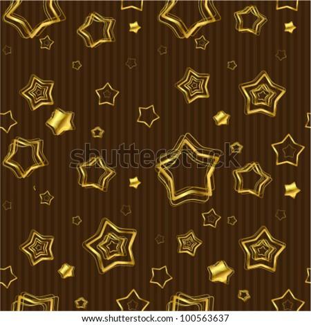 Golden stars background. Seamless vector. - stock vector