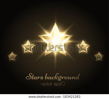 Golden stars background. Vector eps10. - stock vector