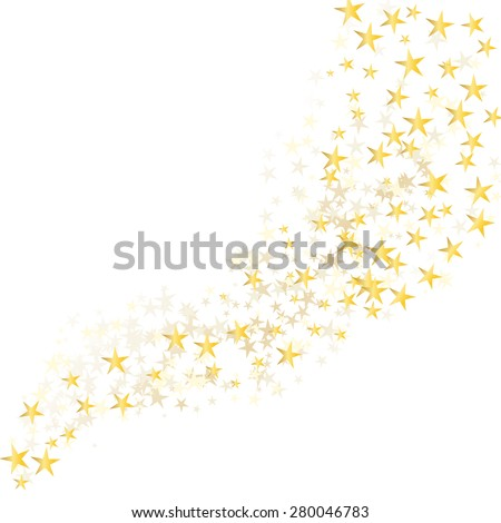 golden stars flowing over white background - stock vector