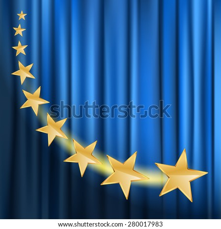 golden stars flying over blue curtain background with spotlight - stock vector