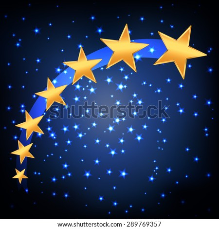 golden stars flying over blue night starry background. vector - stock vector