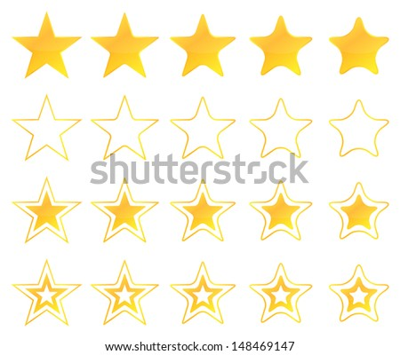 Golden Stars Icon Set - stock vector