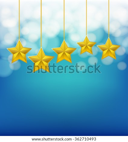golden stars on ropes on blue blurry background - stock vector