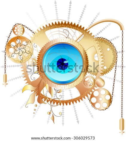 Golden steampunk collage - vector illustration - stock vector