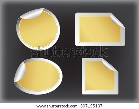 Golden stickers set.Vector design elements. - stock vector