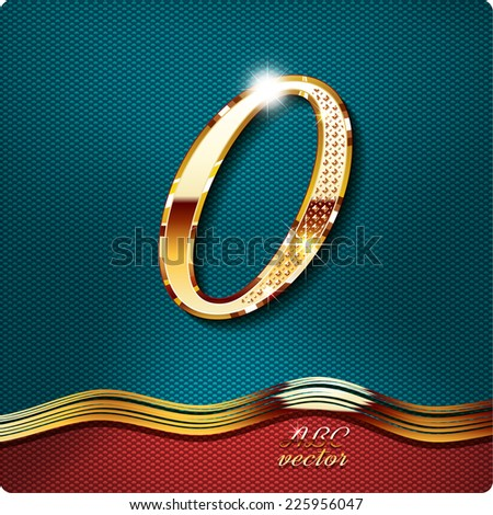 Golden stylish Inlaid figure is 0, with shadow and glare. vector digit nil. The remaining digits in my portfolio. The remaining digits in my portfolio. - stock vector