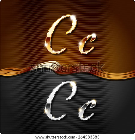 """Golden stylish italic letters and italic metal letters of the alphabet. Capital letter """"C"""" and lowercase """"c"""". Set, vector EPS10. - stock vector"""