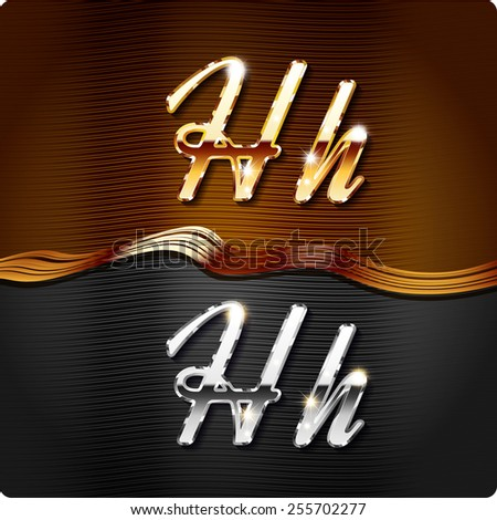 """Golden stylish italic letters and italic metal letters of the alphabet. Capital letter """"H"""" and lowercase """"h"""". Set, vector EPS10. The rest of numbers and letters of the alphabet in my portfolio. - stock vector"""
