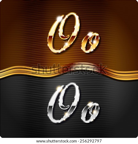 """Golden stylish italic letters and italic metal letters of the alphabet. Capital letter """"O"""" and lowercase """"o"""". Set, vector EPS10. The rest of numbers and letters of the alphabet in my portfolio.  - stock vector"""