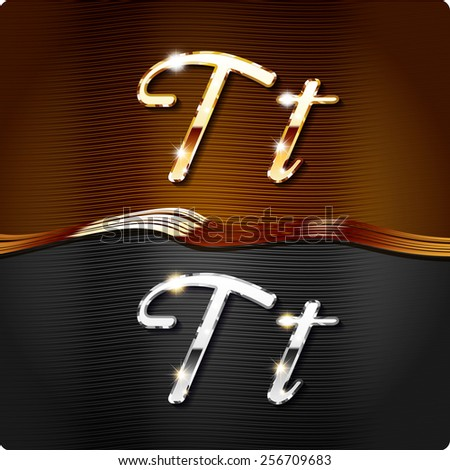 """Golden stylish italic letters and italic metal letters of the alphabet. Capital letter """"T"""" and lowercase """"t"""". Set, vector EPS10. The rest of numbers and letters of the alphabet in my portfolio. - stock vector"""