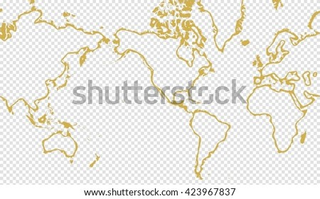 Golden stylish vector picture of planisphere over transparent background - stock vector