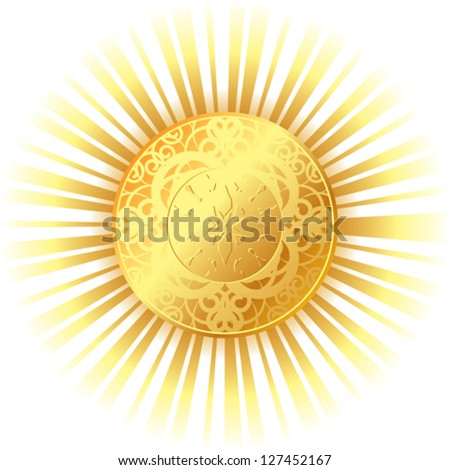 golden sun with bright rays - stock vector