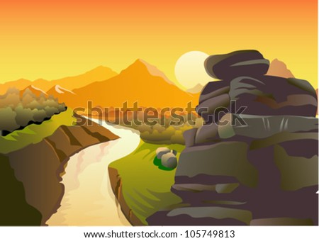 golden sunset and magnificent rocky mountains - stock vector