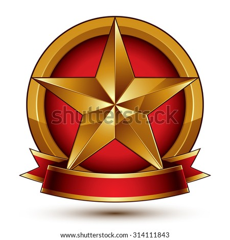 Golden symbol with stylized pentagonal glossy star and red decorative curvy ribbon, best for use in web and graphic design. Sophisticated gold ring isolated on white background. - stock vector