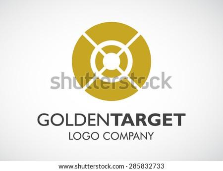 Golden target round loop logo element symbol shape icon design vector for elegant company identity - stock vector