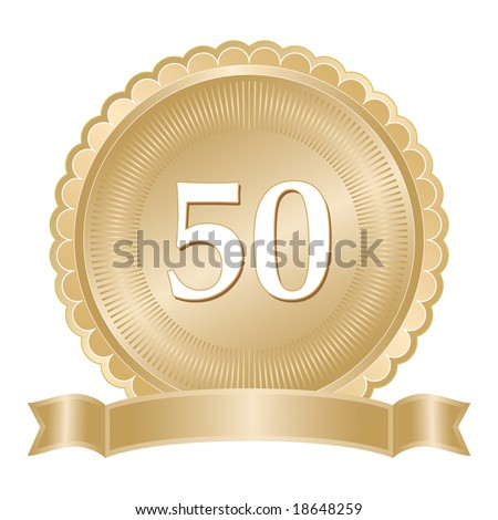 Golden 50th anniversary seal or medallion with ribbon banner and scalloped edge. - stock vector