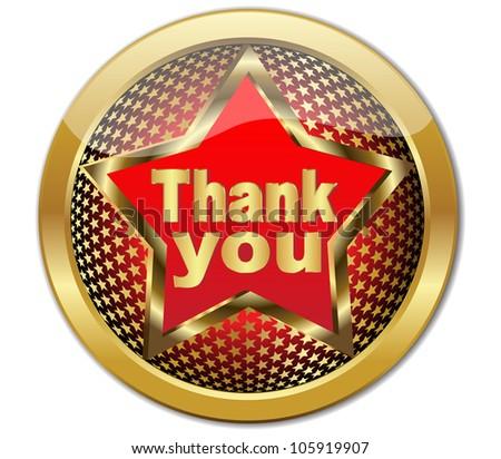 Golden Thank You button.Vector - stock vector