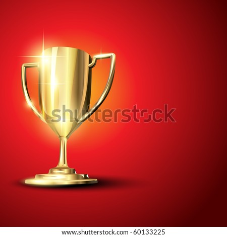 Golden trophy isolated on background. Eps10 illustration - stock vector