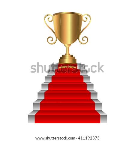 golden trophy on staircase with red carpet. First place award. Vector illustration. - stock vector