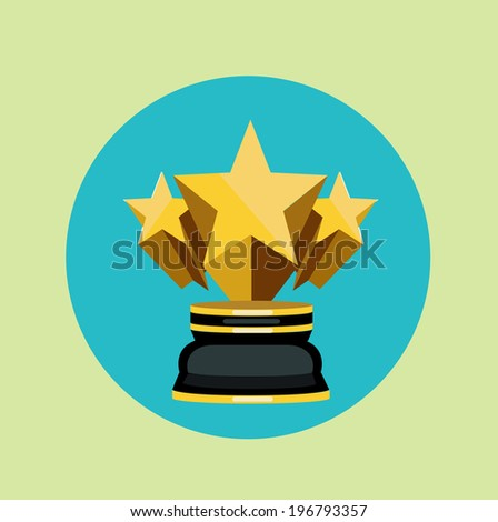 golden trophy with three stars flat icon vector  - stock vector