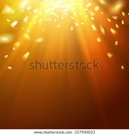 Golden underwater abstraction. Fallen sparks and sun rays in the gold sea. Vector illustration - stock vector