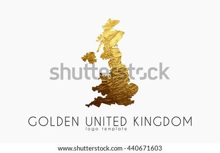 Golden United Kingdom Logo on the white background - stock vector