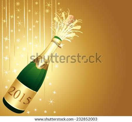 Golden vector festive vector background. Happy new year 2015 !  - stock vector