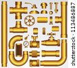 Golden Vector Pipeline Elements - stock vector