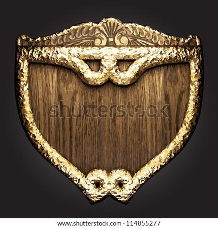 golden vector shield - stock vector