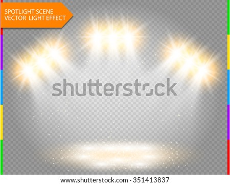 Golden vector spotlight with spark. Light effect on transparent background. Concert scene with star dust illuminated by ray. Glow projector. - stock vector