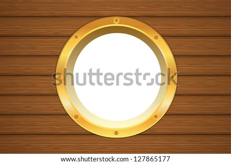 Golden vector yellow porthole window on a wooden ship board - stock vector