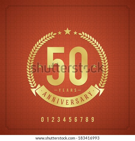 Golden vintage anniversary message emblem. Retro vector background. - stock vector