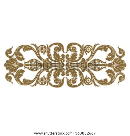 Golden vintage baroque frame scroll ornament engraving border floral retro pattern antique style acanthus foliage swirl decorative design element filigree calligraphy vector - stock vector