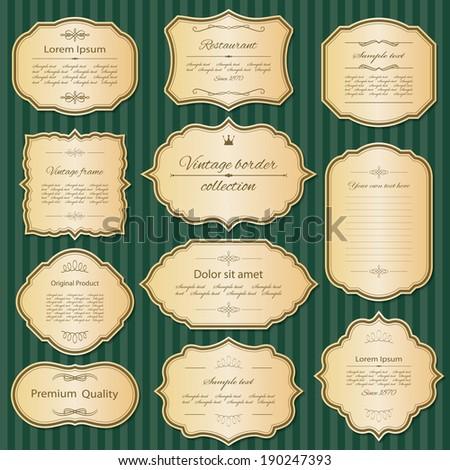 Golden vintage frame and label set. - stock vector