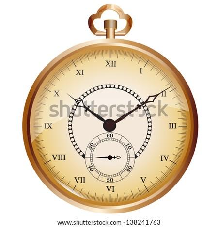 Golden vintage pocket watch - stock vector