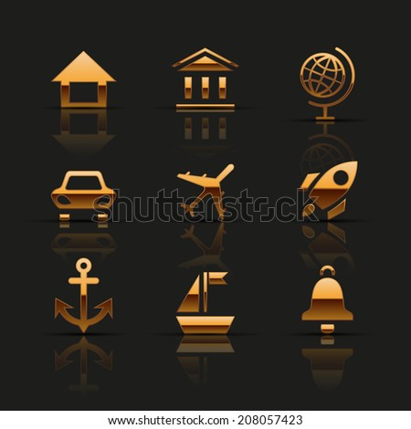 Golden web icons set. Vector illustration.  - stock vector