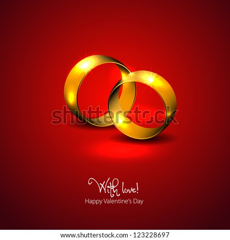Golden wedding rings - vector - With love - Happy Valentine's day - stock vector