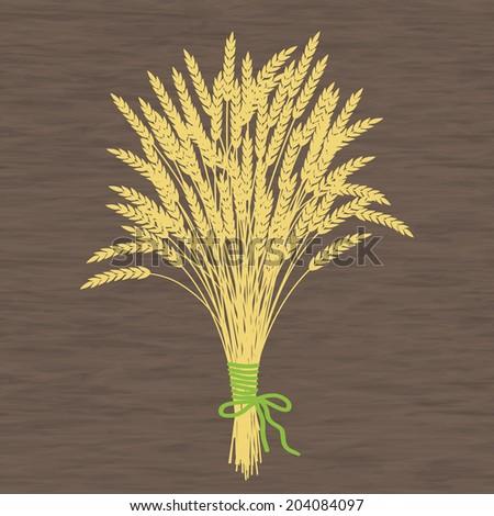 Golden wheat ears on a wooden texture - stock vector