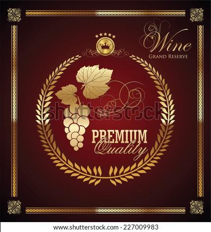 Golden wine label - stock vector