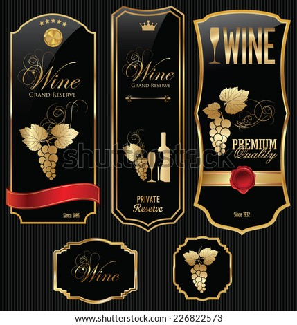 Golden wine label collection - stock vector