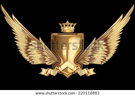 Golden winged insignia - stock vector